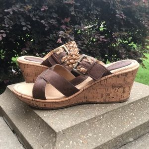 b.o.c. Brown Cork Wedge Sandals